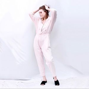 Vintage 80s Star Jumpsuit Coveralls Gold Pale Pink